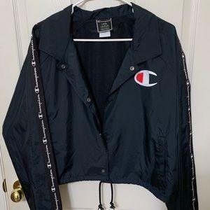 Champion Black Cropped Coaches Jacket Windbreaker